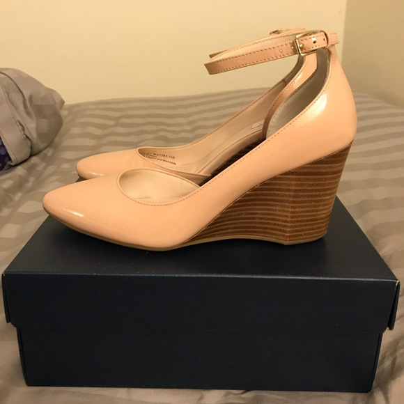 d2f39827ef26 Cole Haan Shoes - Cole Haan Lacey ankle strap wedge pump,Nude, 5.5